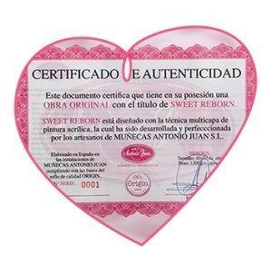 Certificado de autenticidad bebe reborn Sween
